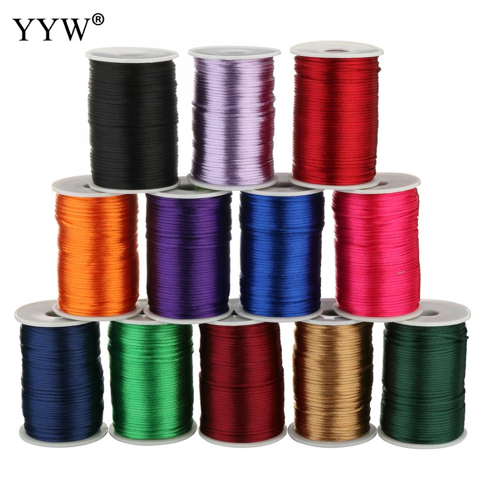 24 Color 100yards/Pc 2mm Mix Nylon Satin Koreal Knotting Silky Macrame Cord Beading Braided Bracelet String Thread Free Shipping