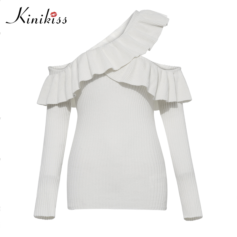 Kinikiss Women Sweater Pullover White Sexy Off Shoulder Soft Ruffle Knitwear Lady Fashion Long Sleeve Elegant Knitted Sweater