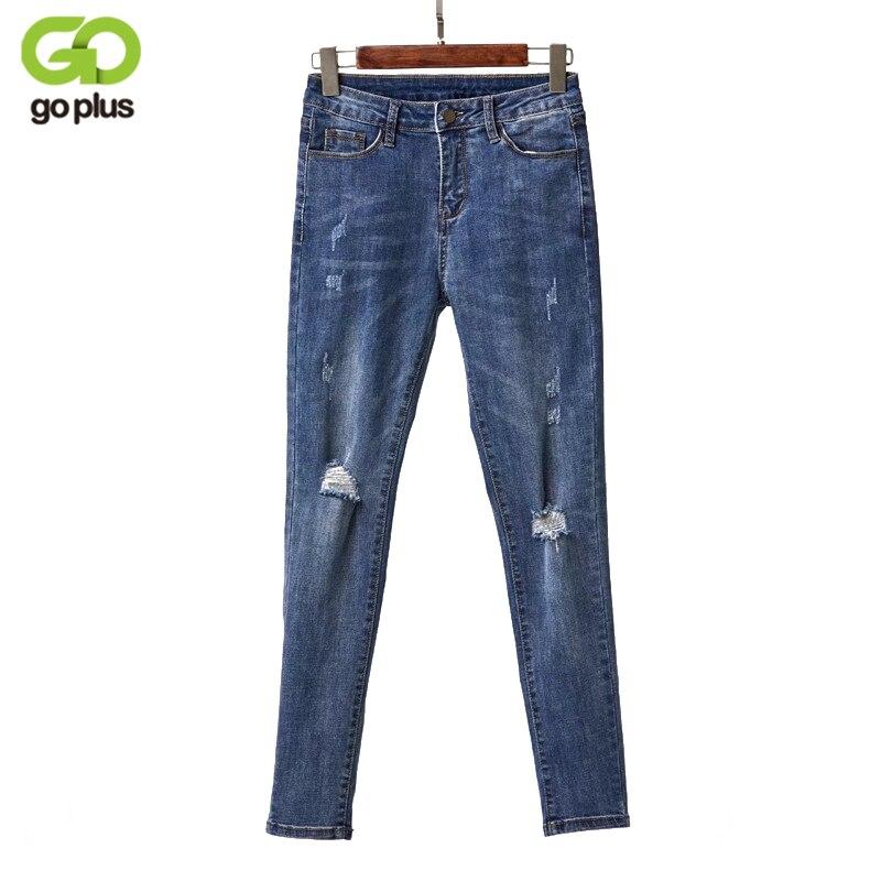 9bad2537c57c GOPLUS обтягивающие джинсы женские с отверстиями тонкий ...