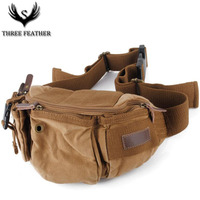 THREE FEATHER Vintage Classical Military Men S Waist Pack Bag Canvas Chest Bag Male Hombre Bicycle