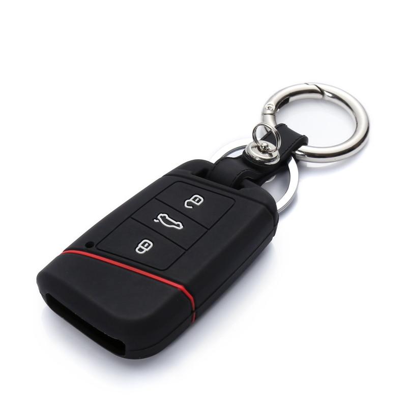 1pcs Car Remote Silicone Key Case For 2016 2017 VW Passat B8 Skoda Superb A7 Key Cover Key Fob Pocket Shell Skin Keychain Ring