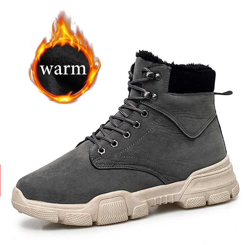 Winter New Men PU Leather Ankle Snow Boots Shoes Motorcycle Fur Plush Warm Classic Fashion Desert