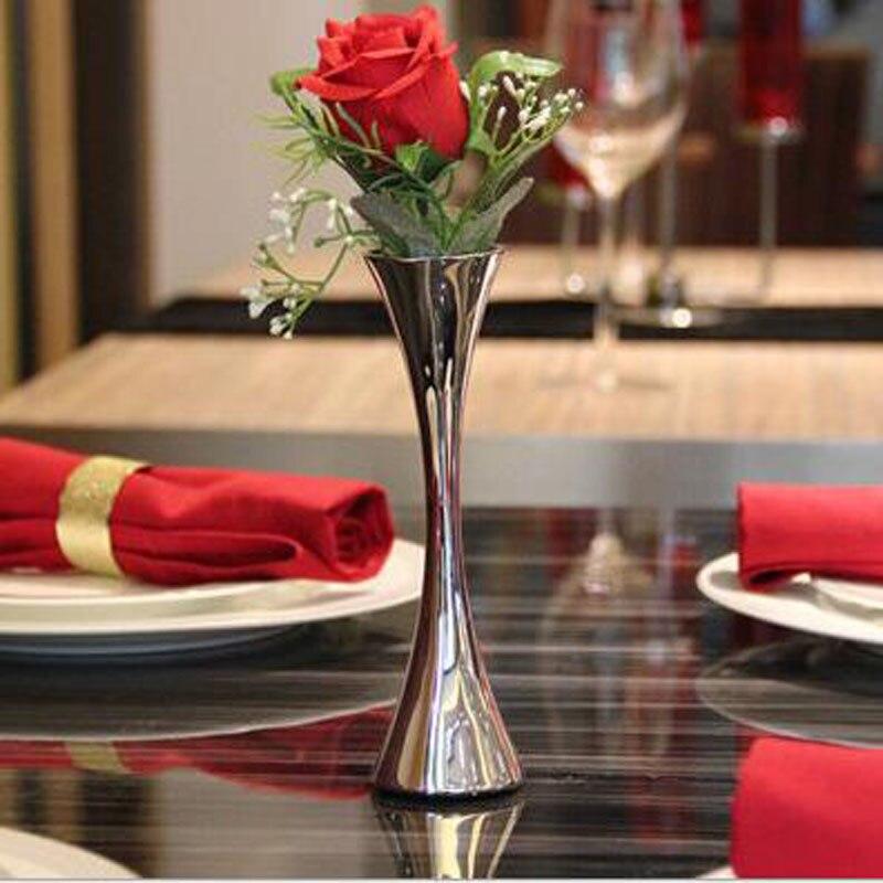 European Style Tabletop Vases Modern Minimalist Ornaments Crafts Decorative Stainless Steel Vase Furnishing Flower Vases ZA3139