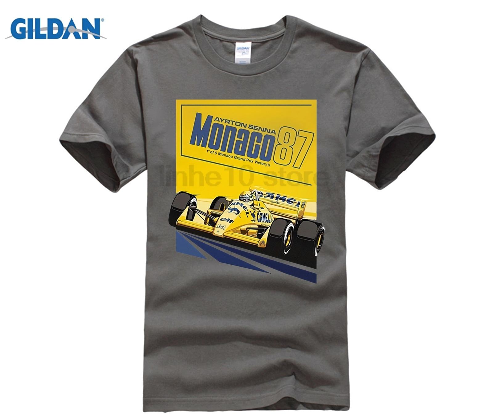 GILDAN New Arrival Ayrton Senna 87 Poster Tops T Shirt 1 Car Men Round Collar Short Sleeve T-Shirts