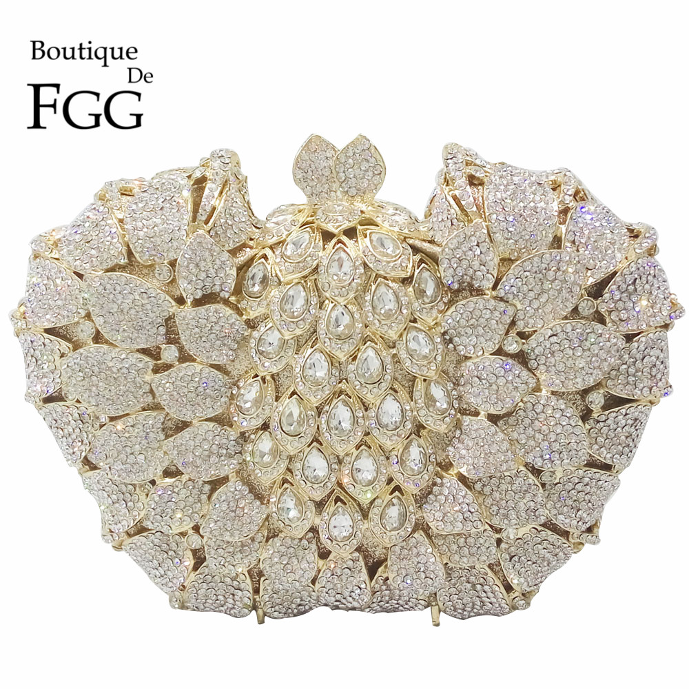 Trapeze Shape Hollow Out Flower Floral Women Silver Crystal Evening Bag Bridal Wedding Party Handbags and Purse Metal Clutches gold plating floral flower hollow out dazzling crystal women bag luxury brand clutches diamonds wedding evening clutch purse