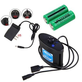 Caja de la caja de la batería de la fuente de alimentación externa de la luz de la bicicleta con la batería de 2 uds 26650 para la lámpara/el teléfono de la bicicleta