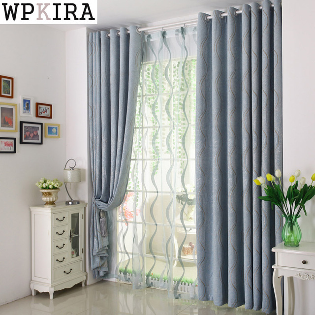 Chenille Curtains Voile Modern Simple Striped Blackout Bule Yellow Curtain Living Room Luxury Kitchen