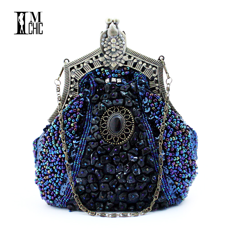 Embroider Beads Women Evening Party Bags Handmade Vintage Clutch Female Phone Pu