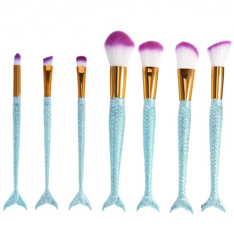 7pcs/set Mermaid Brushes Makeup Set Colorful Fish Tail Powder Foundation Eye Lip Contour Brushes Kit Cosmetic Tool