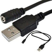 USB ذكر التوصيل إلى 1.35x3.5 مللي متر تيار مستمر السلطة جاك أنثى الحبل كابل أسود