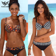 Nakiaeoi 2019 Sexy Bikini Wanita Swimsuit Push Up Baju Renang Cetak Patchwork Brasil Bikini Set Plus Ukuran Baju S ~ 2XL(China)