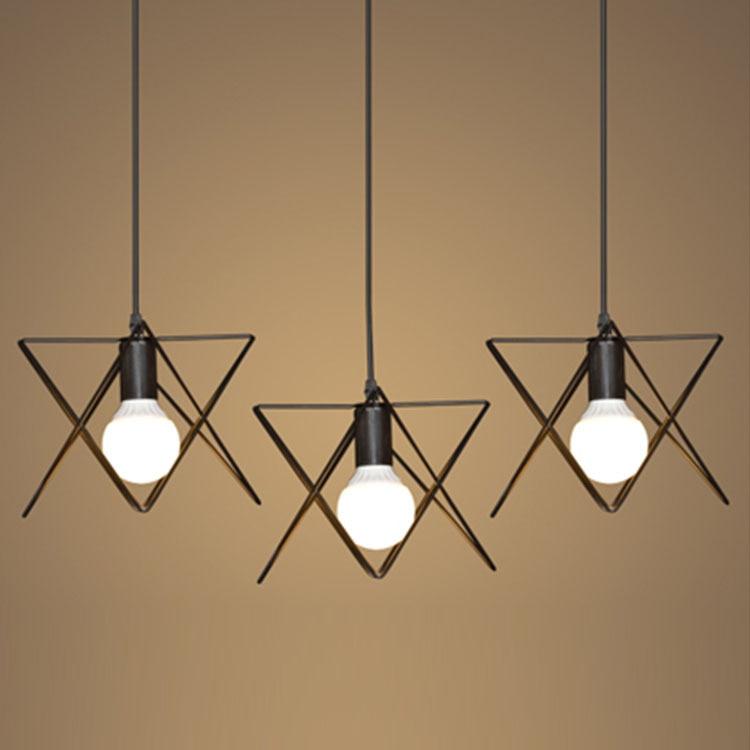 ФОТО Modern Wrought Iron Triangle Pendant Light American Retro Industrial LOFT Bar Lamp Hanging Minimalst Geometric Fixtures110-240V