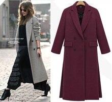 Longo Casaco acolchoado 2017 Outono Inverno Moda Imitação Cashmere Outerwear Cinza Quente Espesso Acolchoado Quilting Mulheres Casacos Sobretudos