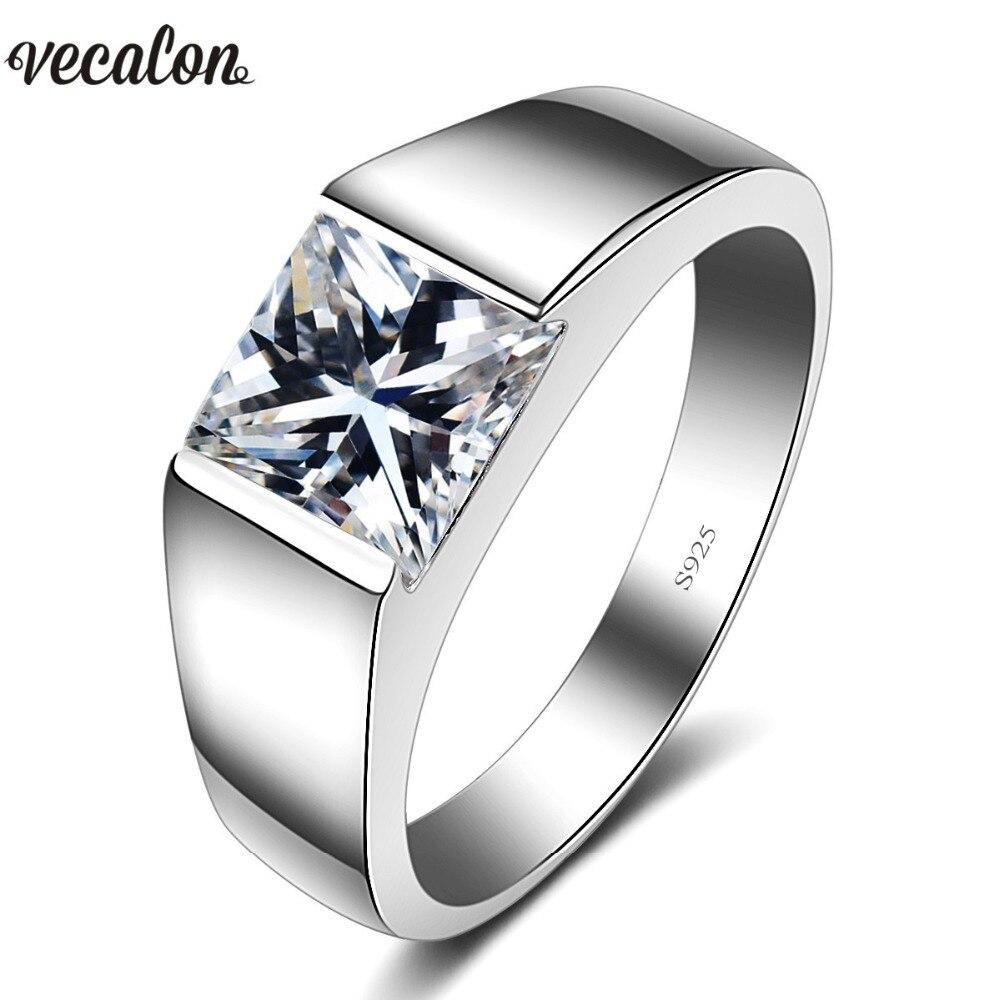 Vecalon Luxus Schmuck wedding Band ring für Männer 4ct 5A Zirkon cz 925 Sterling Silber Engagement Finger ring modeschmuck
