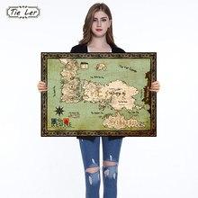 Juego de tronos mapa del mundo famosa serie de TV papel Kraft clásico póster pintura para sala de estar o Bar Café Adhesivo de pared