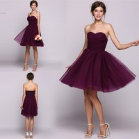 Knee Length A Line Princess Bridesmaid Dress Sweetheart Ruffle Gown Tulle Backless Party Gowns Purple Color