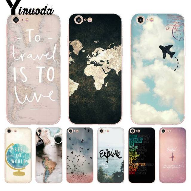 1868bd301e Yinuoda For iphone 7 6 X Case World Map Travel Plans Transparent Phone  Cover Case for iPhone 8 7 6 6S Plus X 5 XS XR XSMAX Cases