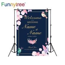 Funnytree fundos para estúdio de fotografia de casamento convite da flor do pássaro backdrop personalizado photobooth photocall impresso