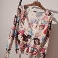 Marca 2016 Cardigans mujeres diseñador de la tela escocesa Cardigans rayas geométricas de impresión suéter de punto estilo británico B345