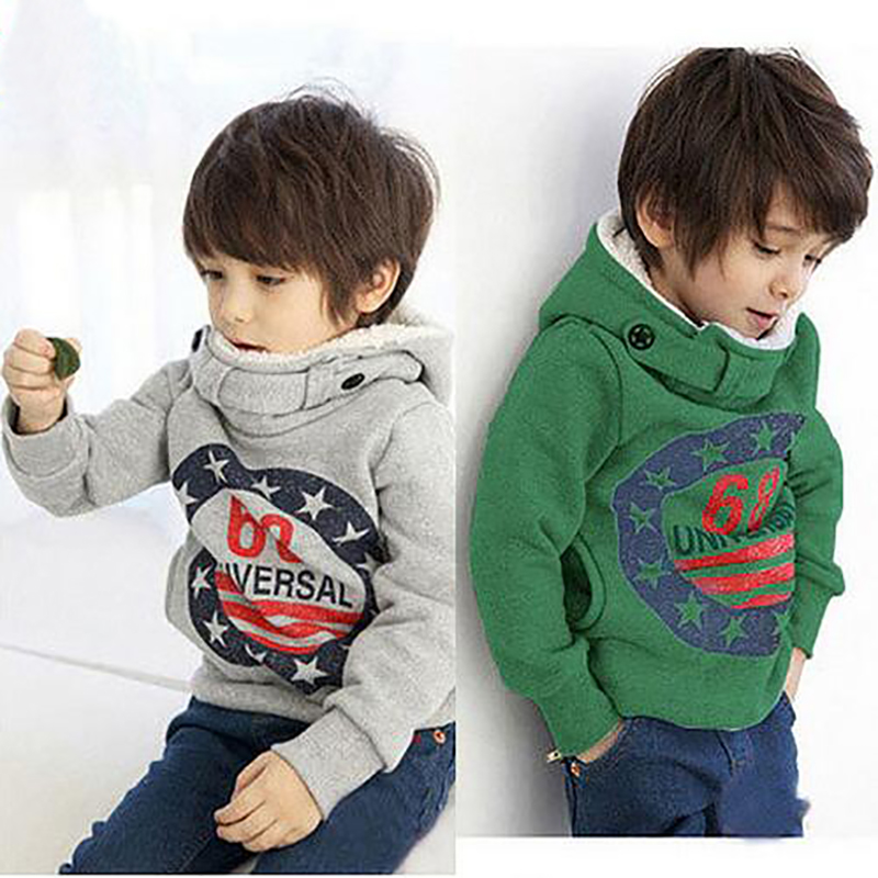 2016 Childrens Cashmere Sweater Boy Hooded Jackets Fashion Cotton Kids Grey Green Clothing 68 Hooded Pullover Jackets