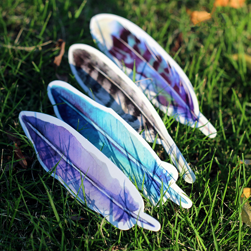 Купить с кэшбэком 6 set/Lot Feather bookmark for book marker Vintage paper clips Stationery Office material School supplies marcapaginas FC381