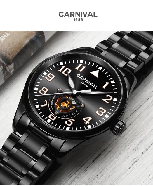 카니발 남자 자동 시계 중공업 기계식 비즈니스 시계 럭셔리 선물 전체 철강 얇은 케이스