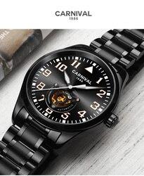 Karnawał mężczyźni automatyczny zegarek Hollow mechaniczny zegarek biznesowy luksusowy prezent pełny stalowy smukły futerał w Zegarki mechaniczne od Zegarki na