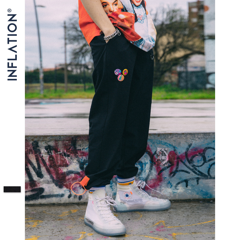 INFLATION Men's Drawstring Cargo Harem Pants 2019 Hip Hop Casual Male Tatical Joggers Trousers Ankle Drawstring Pants 81192W-in Sweatpants from Men's Clothing
