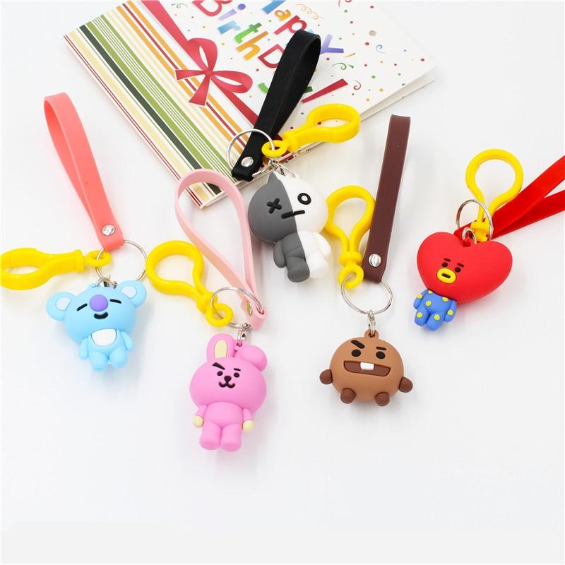 Kpop BT21 Car Keychain Korea Style Cute Teddy Small Animal Key Ring Soft  Lovers PVC Women Key Holder Doll Bag Pendant Girls Gift-in Key Rings from  ... 6e1a0b4026