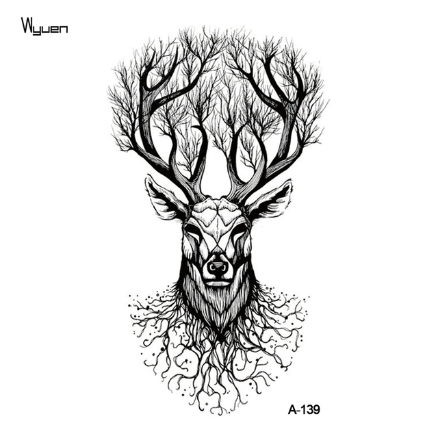wyuen deer temporary tattoo sticker tree tattoos for women fashion sexy body art waterproof hand. Black Bedroom Furniture Sets. Home Design Ideas