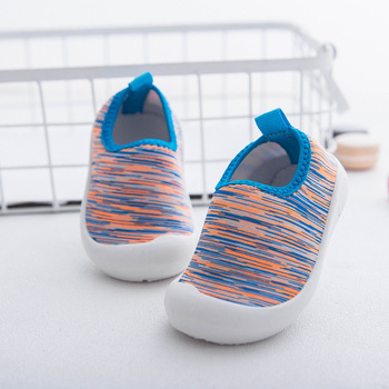 2019 New Korean Soft-soled Skin-friendly Elastic Fabric Boy Girl First Walker Shoes Color Matching Effective Grip Toddler Shoes image