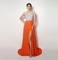 High Quality Sexy Prom Dress A Line V Neck Chiffon Beaded Crystals Elegant Formal Party Gown Plus Size Custom Made