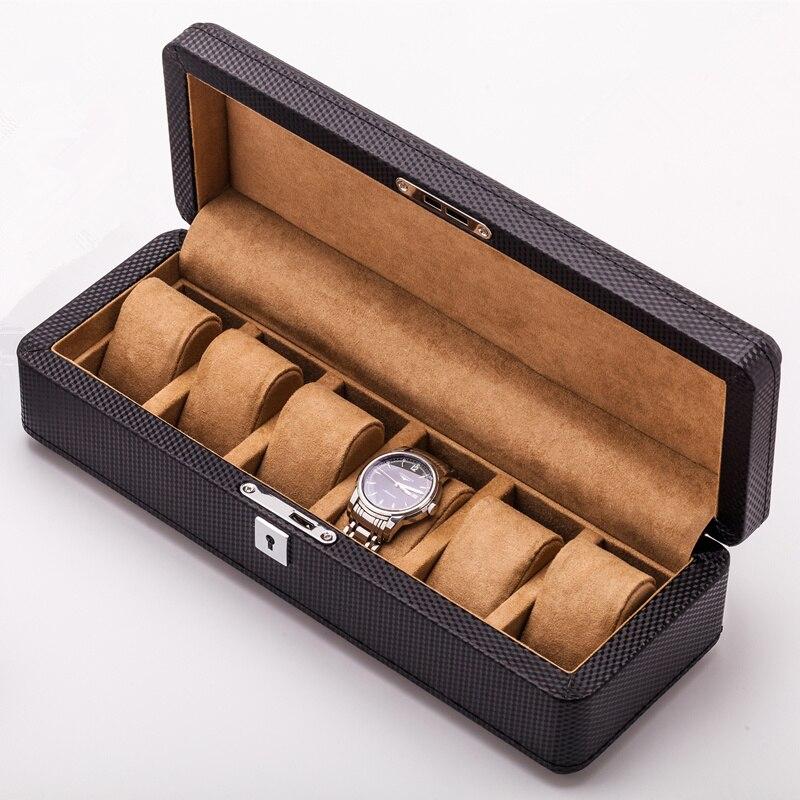 6 слотов углеродного волокна часы Органайзер черный дисплей для часов кожаный коробки, футляр с замком черные ювелирные изделия подарочная ...