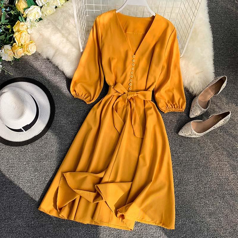 NiceMix Elegant Women Summer V neck Lantern Sleeve Bandage Strap Sashes Button Dress New Vintage A line Slim High Waist Party Mi in Dresses from Women 39 s Clothing