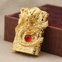 Chief China Dragon Arc punch Cigarette Golden Lighter Cigarettes Smoking USB Charging Electric Petrol Refillable