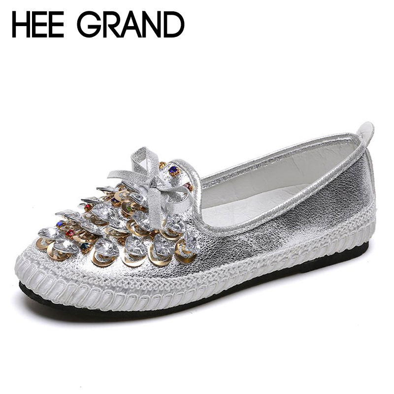 HEE GRAND 2018 New Arrival Women Flats Crystal Decoration Vamp Summer&Fall Women Slip-on Causal Fashion Mujer Shoes XWD6753