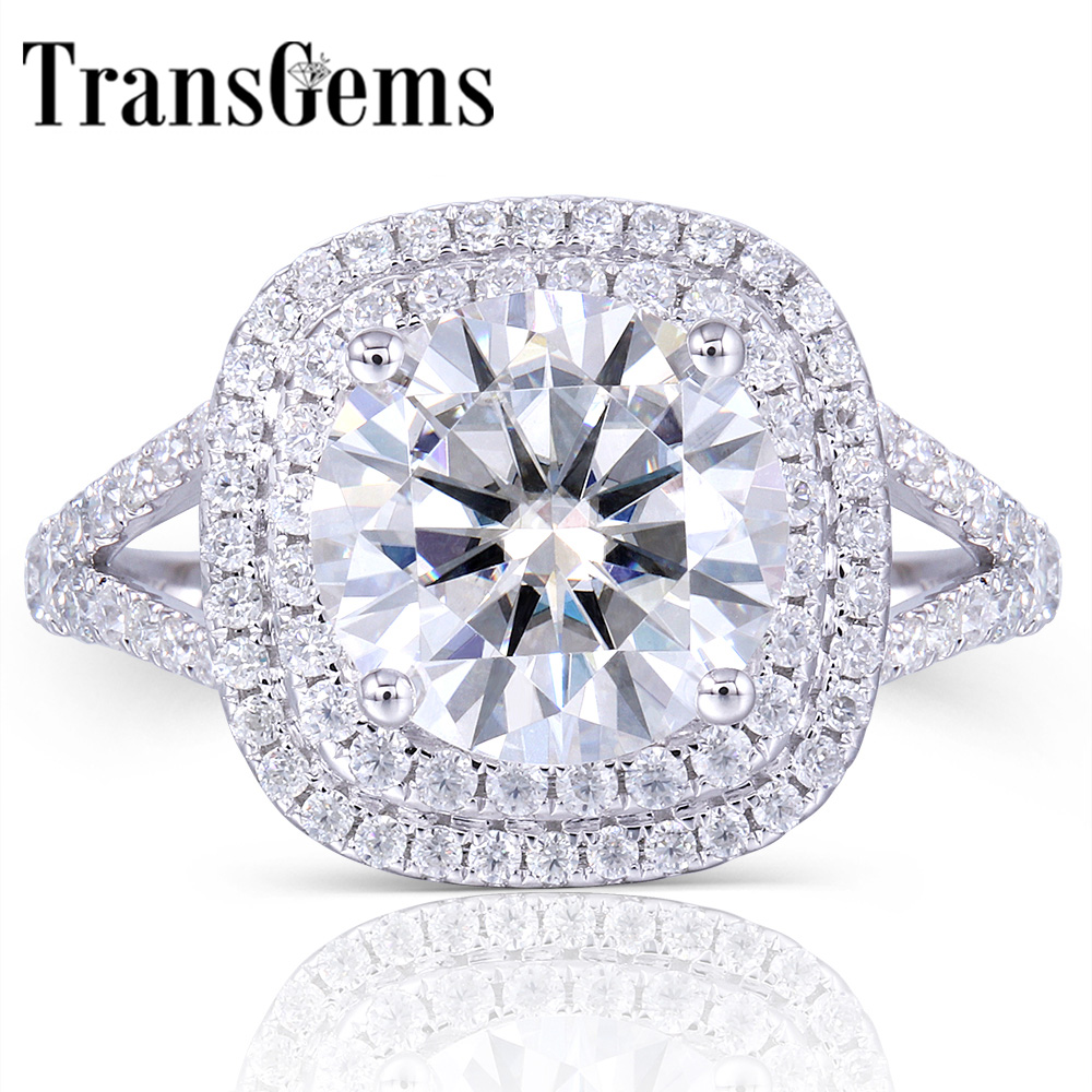 TransGems Solid 14K 585 White Gold Center 3ct Moissanite Diamond Double Halo Ring with Accents Fine