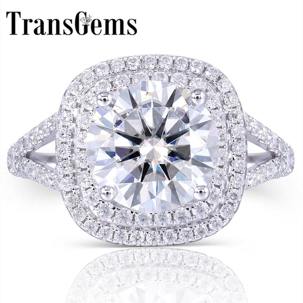 Centro 14 TransGems Solid 585 K Ouro Branco Moissanite 3ct Diamante Duplo Anel de Halo com Acentos de Jóias Finas para Mulheres