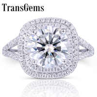 56c96cdce1782 TransGems Solid 14K 585 White Gold Center 3ct Moissanite Diamond Double  Halo Ring with Accents Fine Jewelry for Women