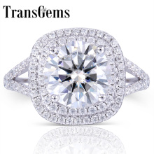 TransGems 3 Carat GH Near Colorless Lab Moissanite Wedding Halo Ring Real Diamond Accents Solid 14K White Gold Band for Women