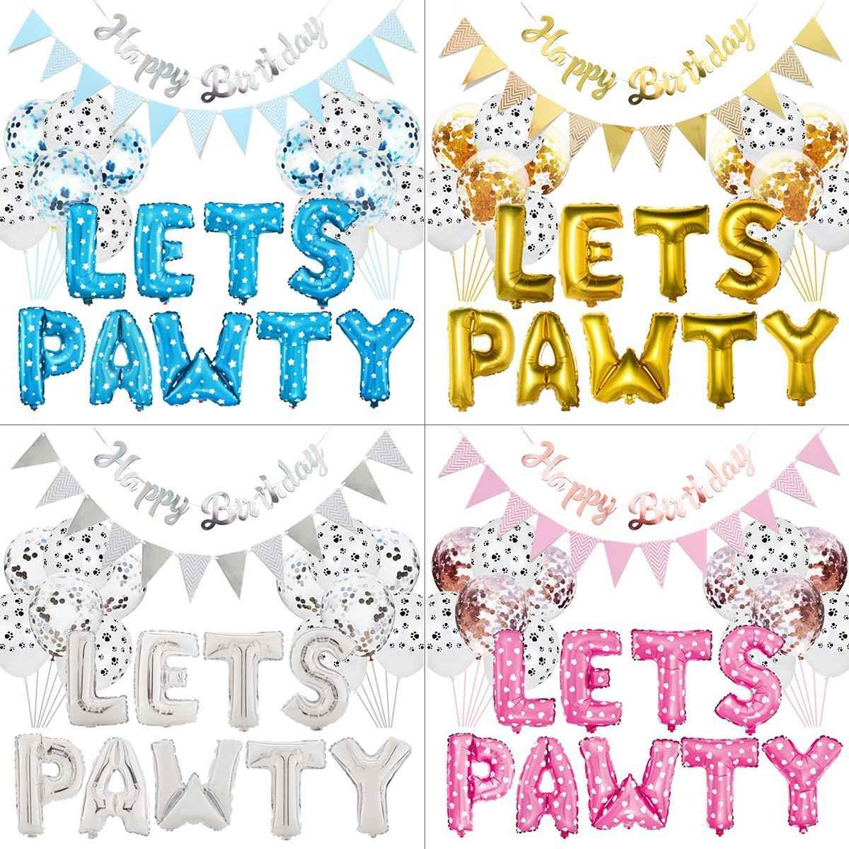 23 ピース/セットペット犬パーティーの装飾キット、 PAWTY 風船誕生日パーティー用品犬猫