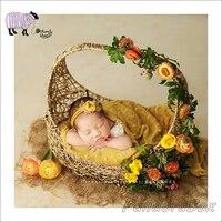 Новорожденный позирует реквизит для фотосъемки корзина ручной работы для маленьких мальчиков и девочек фото для студийной съемки из ротан