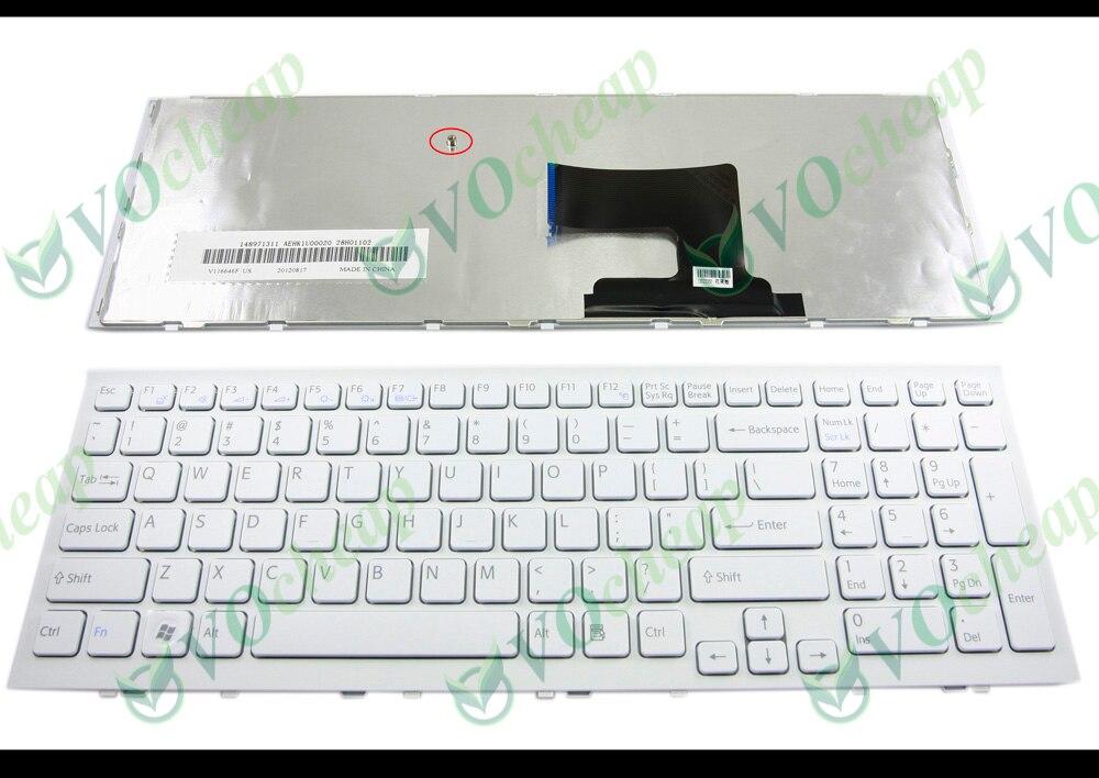 For Sony Vaio US Keyboard VPCEG16FM VPCEG18FX VPCEG17FX VPCEG1AFX white