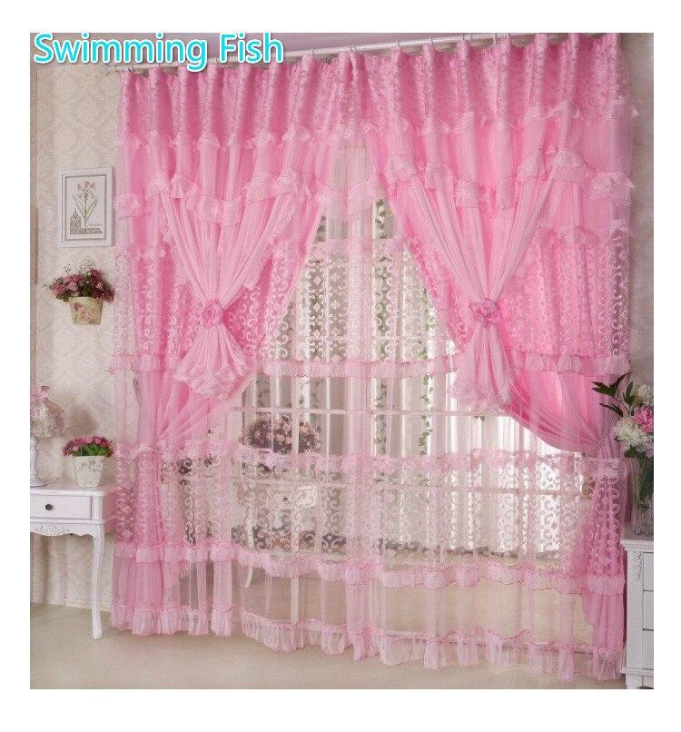 ᗑ】Dentelle à la main rideaux pour les filles chambre rose/violet ...