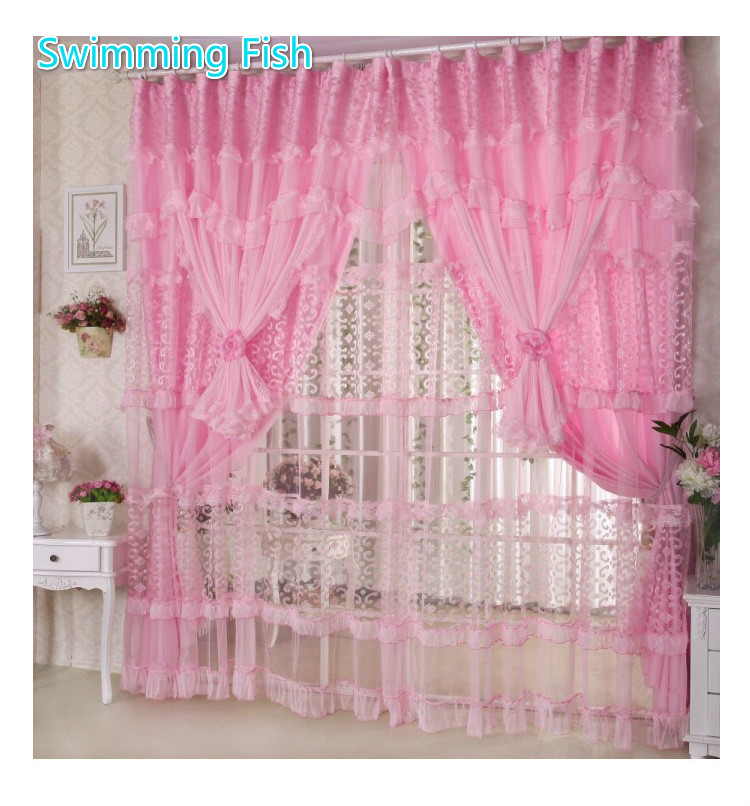 Handmade Lace curtains for girls room pink/purple lace sheer curtains for children bedroom 3 layers