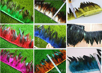 10 meters long beautiful rooster tail feathers trim 13 18cm DIY sewing dance party clothing