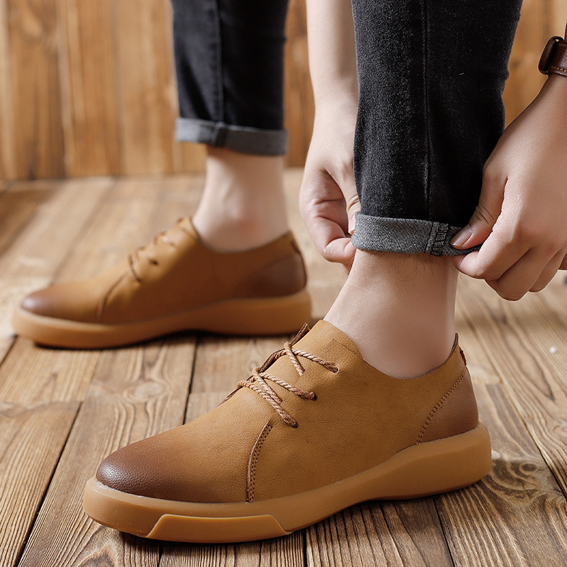 Spring casual work shoes large size mens leather shoes leather thick bottom wear Cowhide Retro ShoesSpring casual work shoes large size mens leather shoes leather thick bottom wear Cowhide Retro Shoes