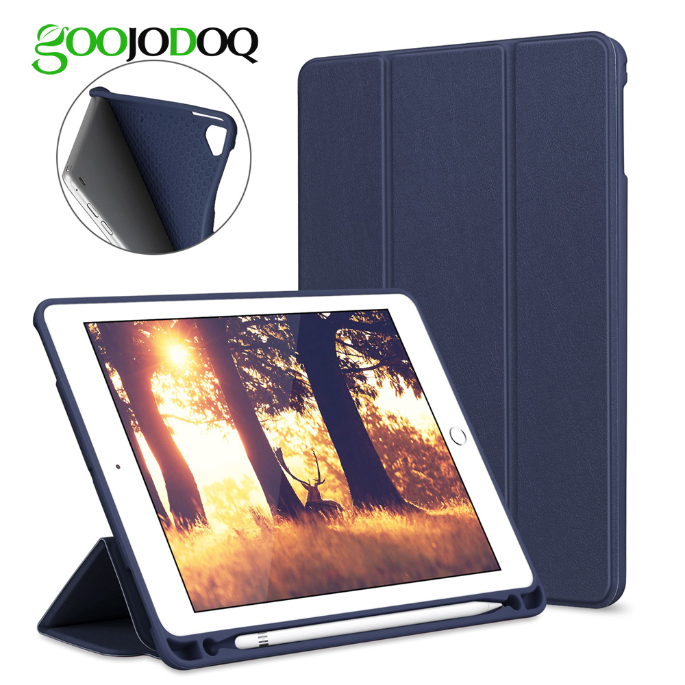 Para el iPad 2018 caso lápiz titular GOOJODOQ silicona suave cuero de la PU de la cubierta elegante para Apple iPad 6th generación A1893 /A1954