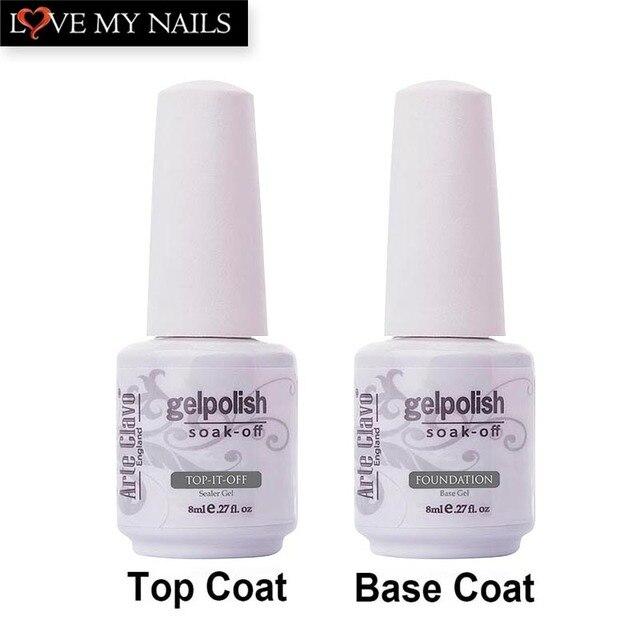 Najwyższa jakość nie wytrzeć clavo arte top coat & base coat 8 ml Salon Manicure Lakier Soak Off Paznokci Żel Żel UV Do Paznokci Polski