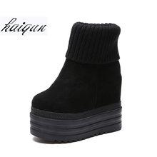 007136346 13 см Для женщин на высоком каблуке Осенняя мода Повседневное ботинки на танкетке  Женские туфли на скрытой платформе Zapatillas .